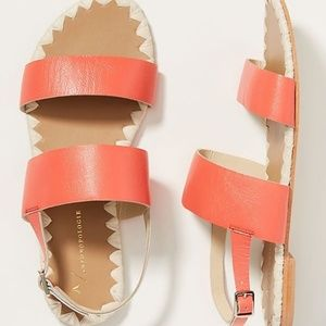 ANTHROPOLOGIE 7M Sandals BRETTE Coral + Gold NEW